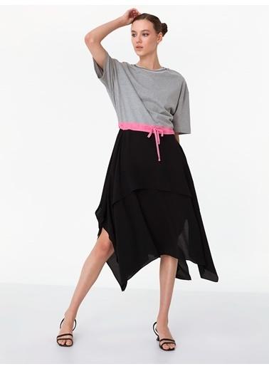 Twist Kısa Kollu Asimetrik Elbise Gri